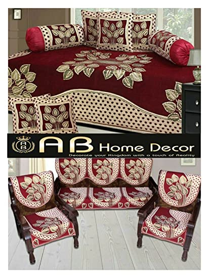 Ab Home Decor Leaf Design Maroon diwan set and sofa cover Set combo