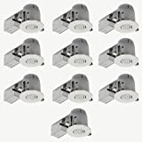 "Globe Electric 4"" LED IC Rated Swivel Spotlight Round Recessed Lighting Kit Dimmable Downlight, Contractor's 10-Pack, White Finish, 10 LED Bulbs Included, 90954"