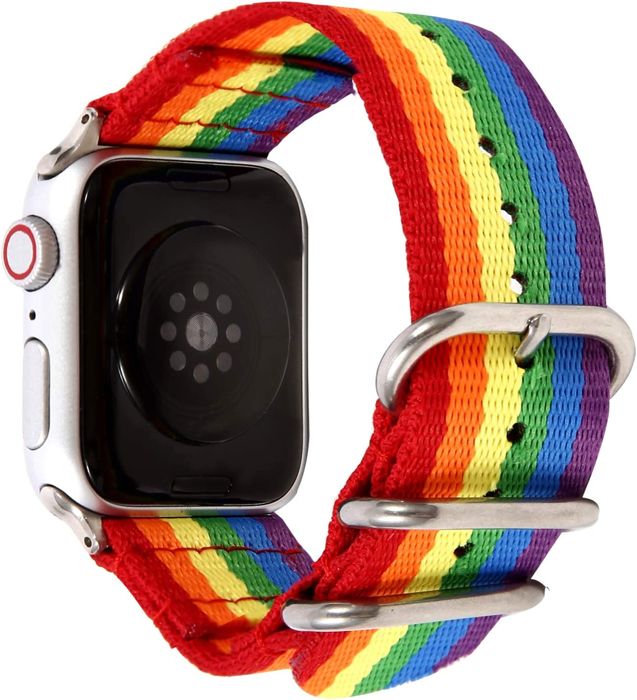 Compatible for Apple Watch Bands,Oimaigroo Replacement LGBT Straps Bracelets Nylon Fabric Rainbow Elegant for iWatch 42mm/44mm