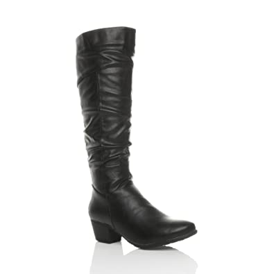 a452b133ab2f73 Ajvani Womens Ladies Cuban mid Heel Zip Ruched Slim Calf Cowboy Knee Boots  Size 3 36
