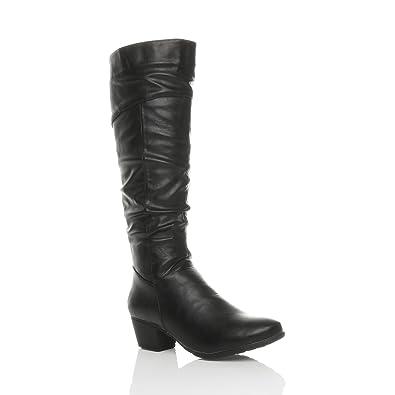 f77b8dc213 Ajvani Womens Ladies Cuban mid Heel Zip Ruched Slim Calf Cowboy Knee Boots  Size 3 36