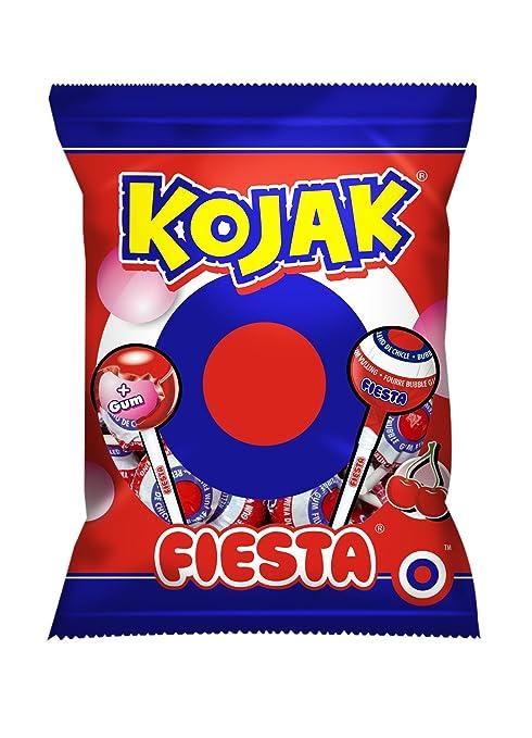 FIESTA Kojak - Caramelo con palo relleno de chicle - Sabor cereza - 7 unidades