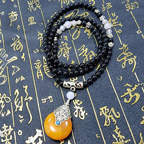 usongs Not fade pure black natural black onyx 6MM Thai amulets chain necklace pendant sub men and women girls models