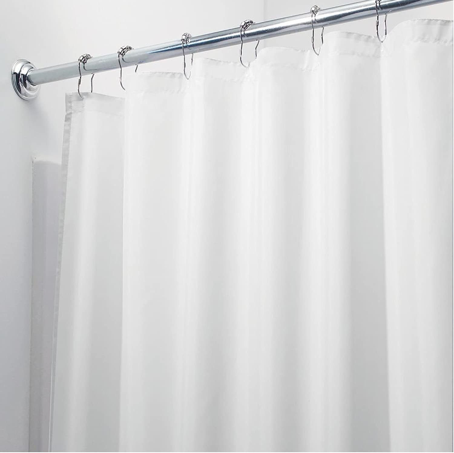 White Magnetized Shower Curtain Liner Mildew Resistant