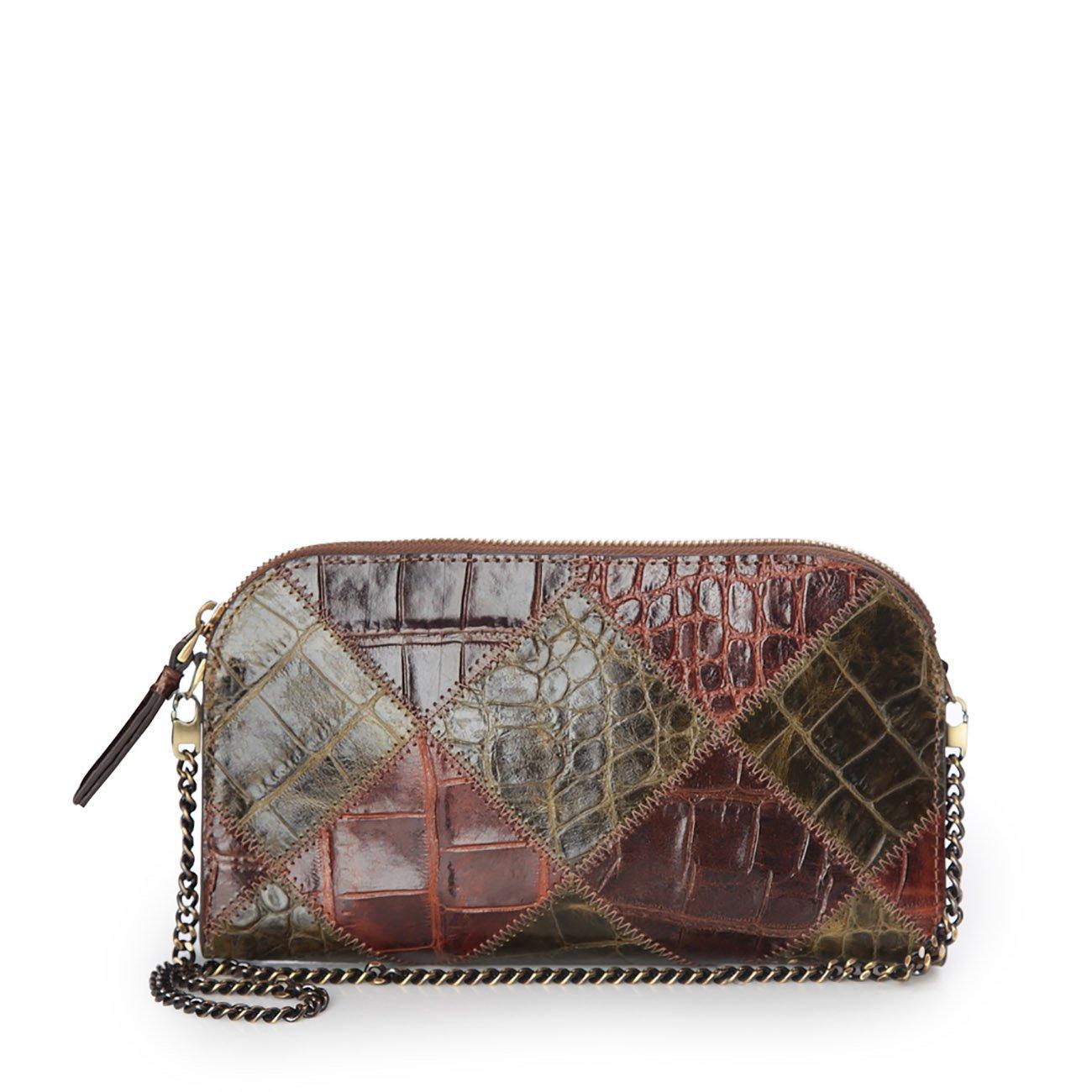Eric Javits Luxury Fashion Designer Women's Handbag - Patchwork Pouch - Loden/Brown