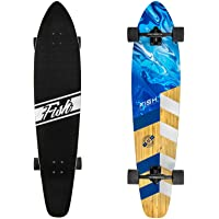 FISH SKATEBOARDS Longboard Skateboard, 44-Inch 7-Ply Artisan Bamboo and Maple Longboard, Professional Complete…
