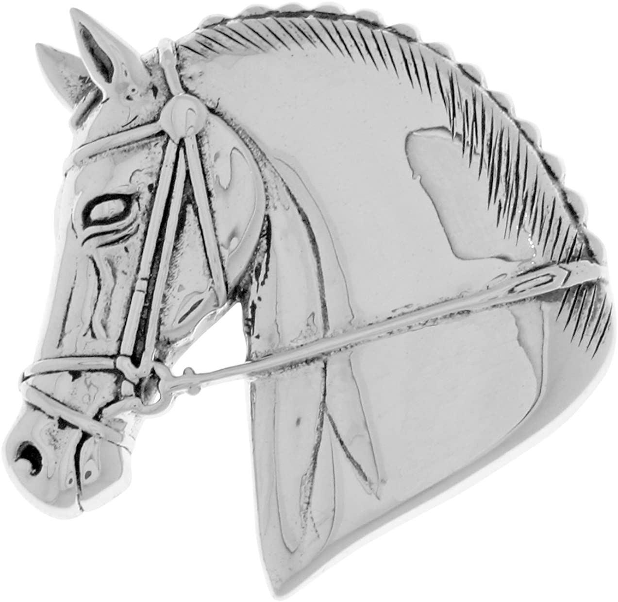 Horse Head Brooch Silver Clasp Clip Horse Jewelry Sets Animal Jewelry Horse Sterling Sliver Pin lapel silver pin, Fastening Badge
