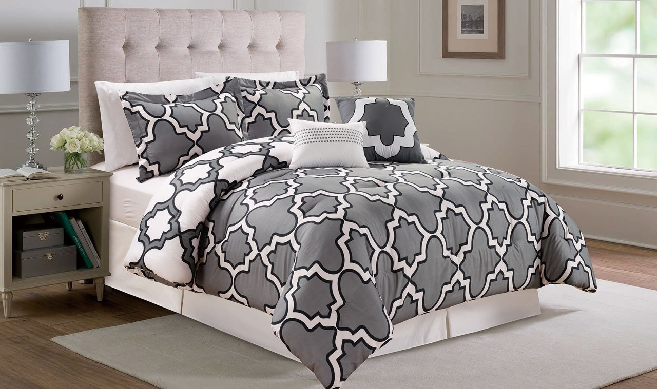 6 Piece Queen Capetown Gray Reversible Comforter Set