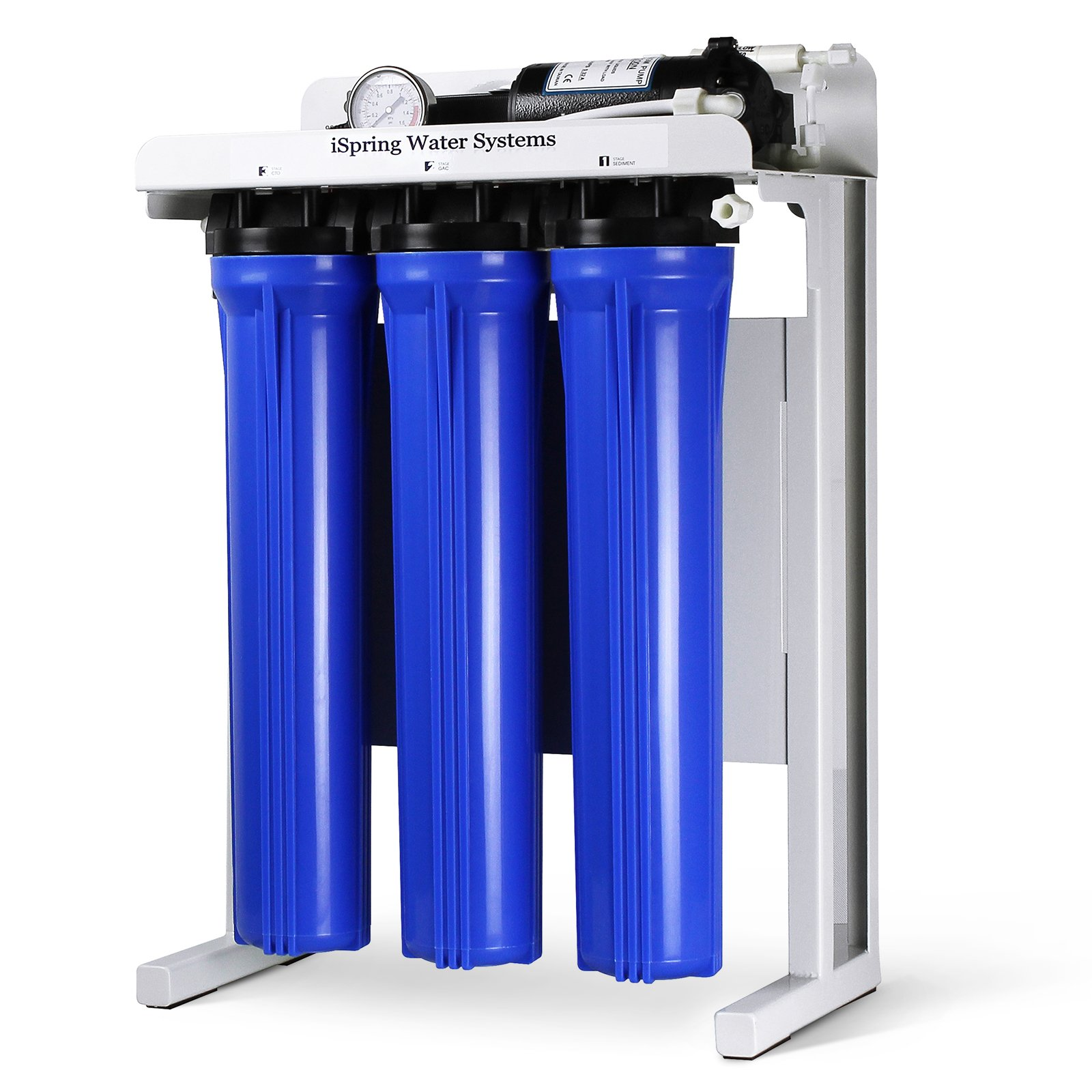 iSpring RCB3P 300 GPD Commercial Grade Reverse Osmosis Water Filter System w/ Booster Pump and Oversized Pre RO Filters by iSpring