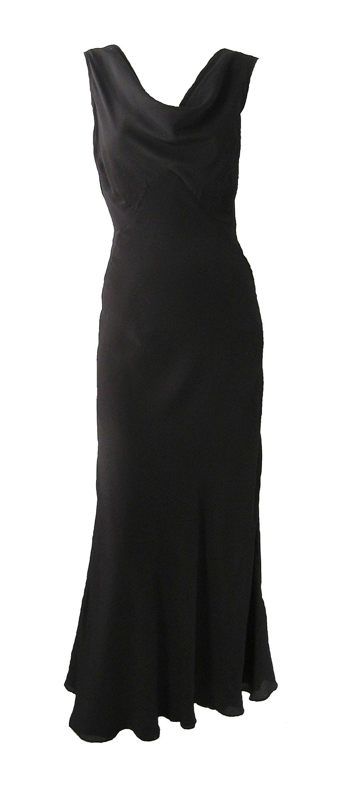 Vintage 1930s Style Black Silk Gown