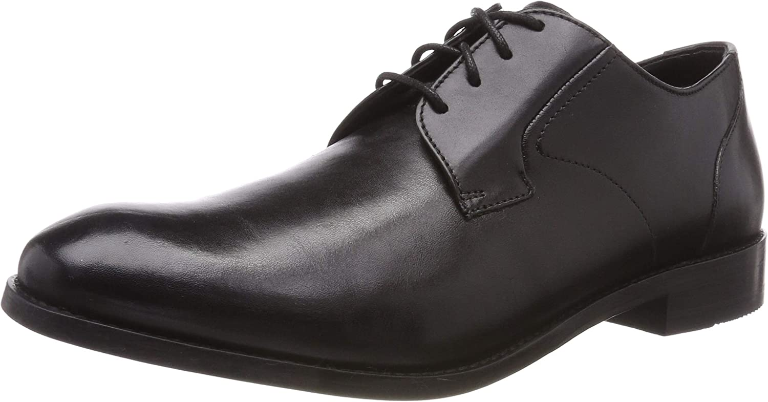 Clarks Edward Plain, Mocasines para Hombre, Negro (Black Leather-), 39.5 EU