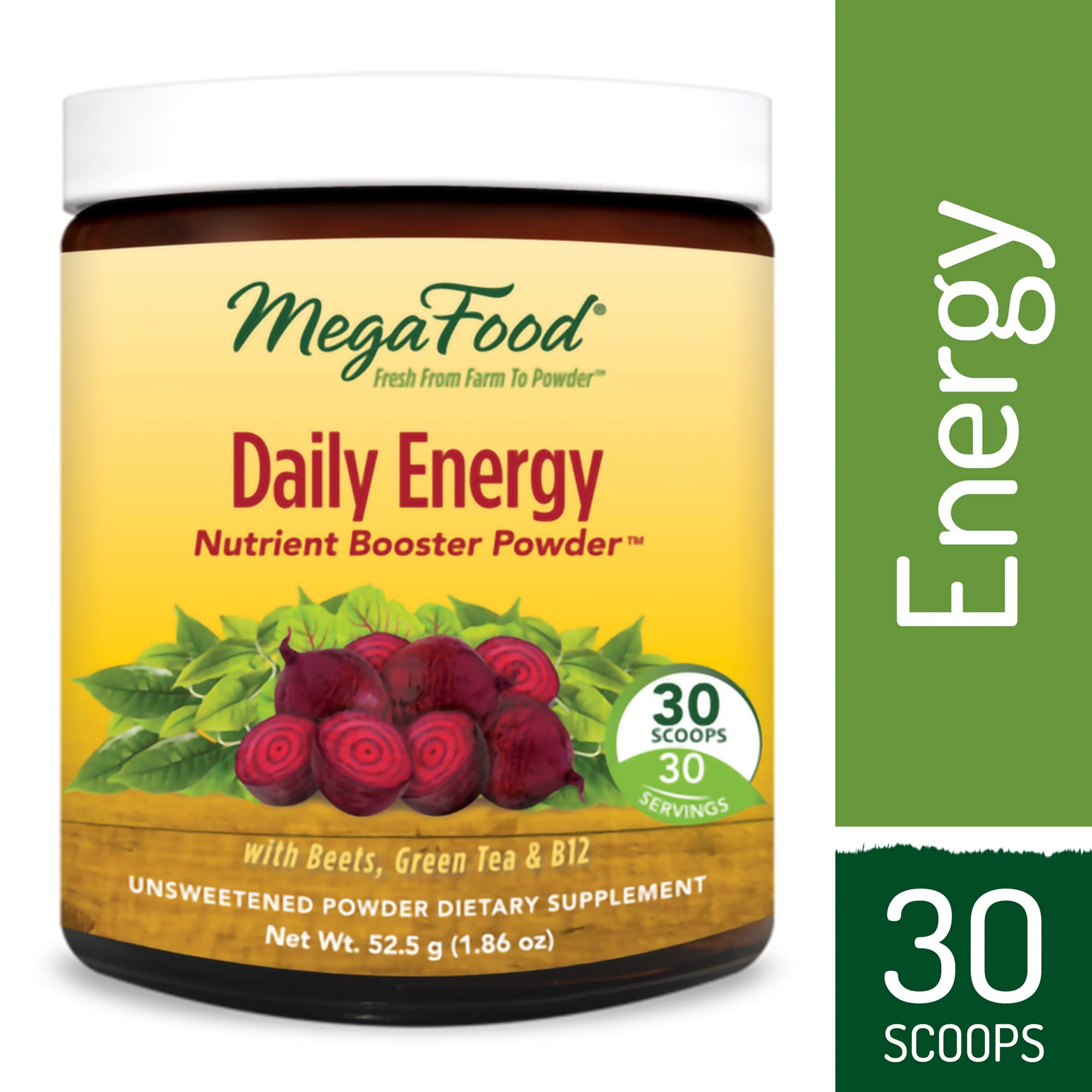 MegaFood - Daily Energy Booster Powder, Promotes Energy, Endurance, Metabolism, and Stress