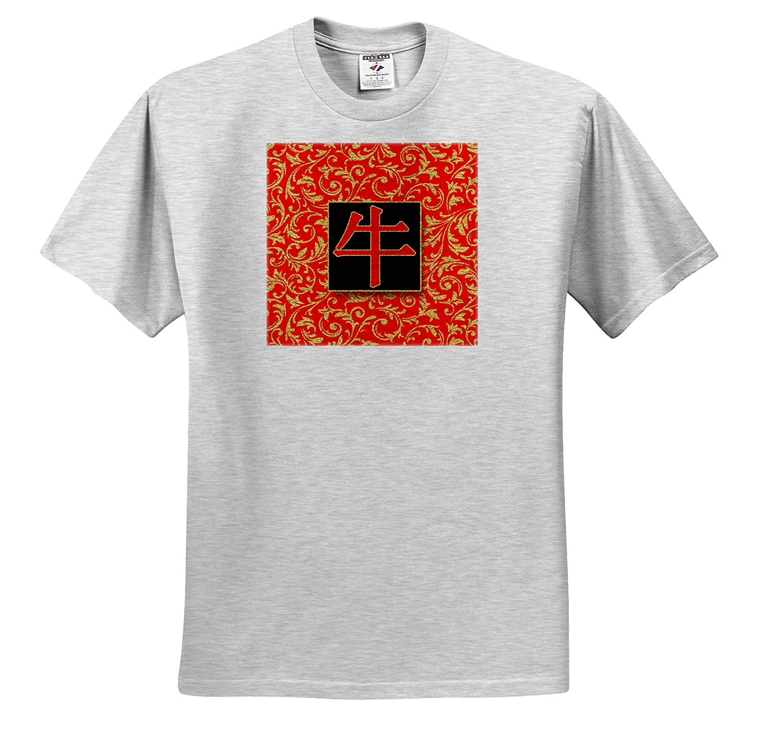 T-Shirts 3dRose Doreen Erhardt Asian Collection Year of The Ox Chinese Character in Gold and Red