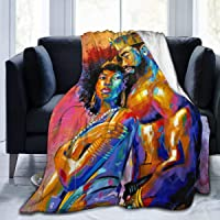 KING DARE King African American Lovers Couple Sofa Blanket, Lightweight Travel Blanket, Cozy Plush Keep Warm Throws Blankets for Baby/Kids/Youth 50x40 inch