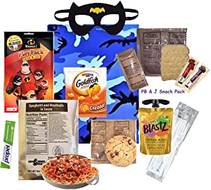 KIDS MRE (for a BOY) Full Meal Several Entrée Options w/ Play Pack & more! (Spaghetti & Meatballs)