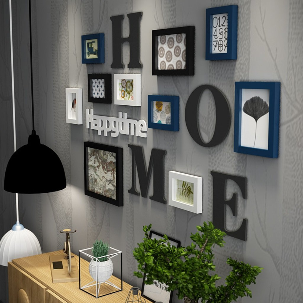 Photo frame collage Solid wood combination living room photo frame wall creative restaurant background wall decoration (Color : Blue) wen hui shop