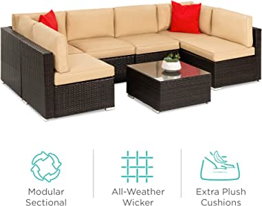 Best Choice Products 7-Piece Modular Outdoor Conversational Furniture Set, Wicker Sectional Sofas w/Cover - Brown/Tan
