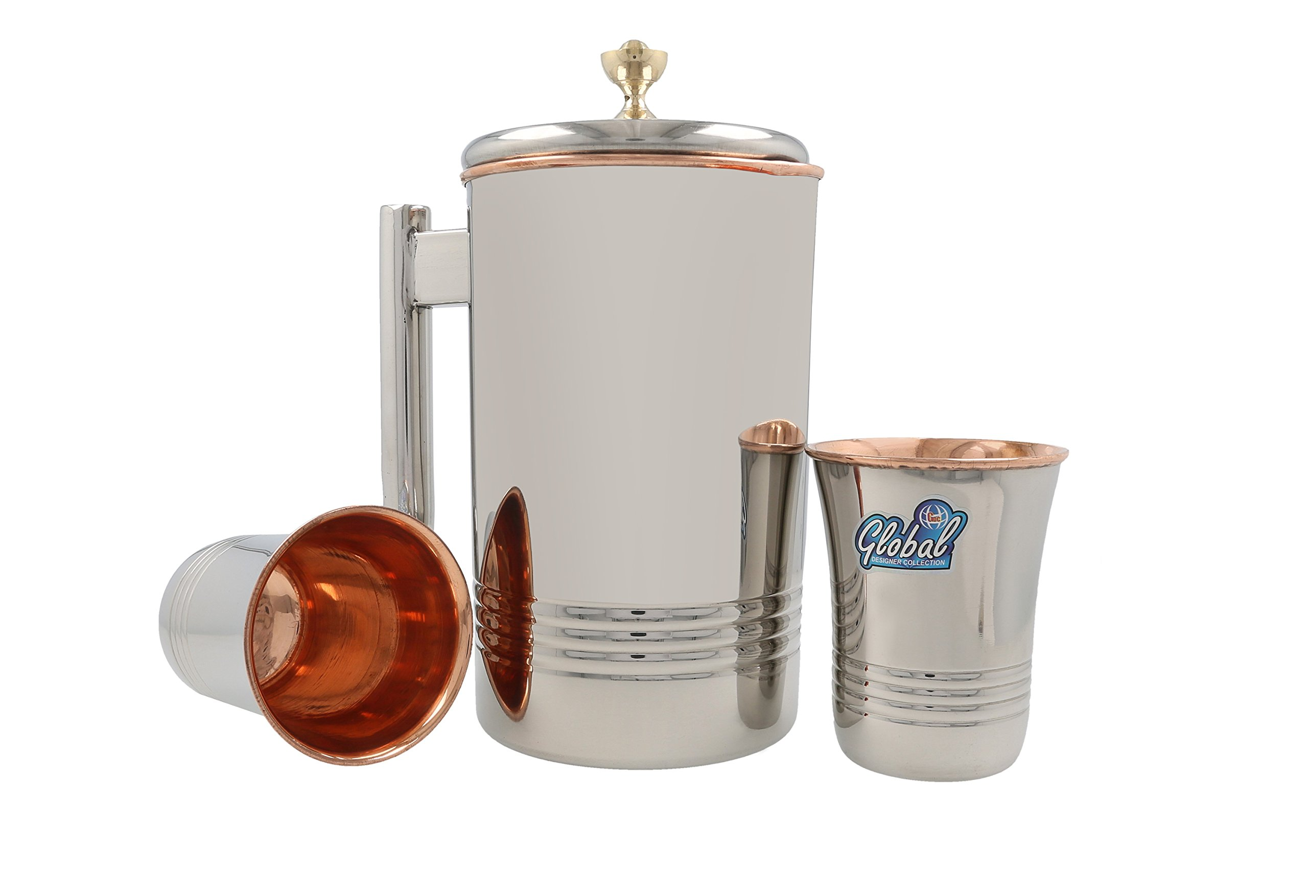 RawyalCrafts 100% Outside Stainless Steel Inside Pure Copper Handcrafted Pitcher/Jug 50 Oz/1.5 Liters for Ayurveda Health Benefit with Set of 2 Stainless Steel Copper Glasses