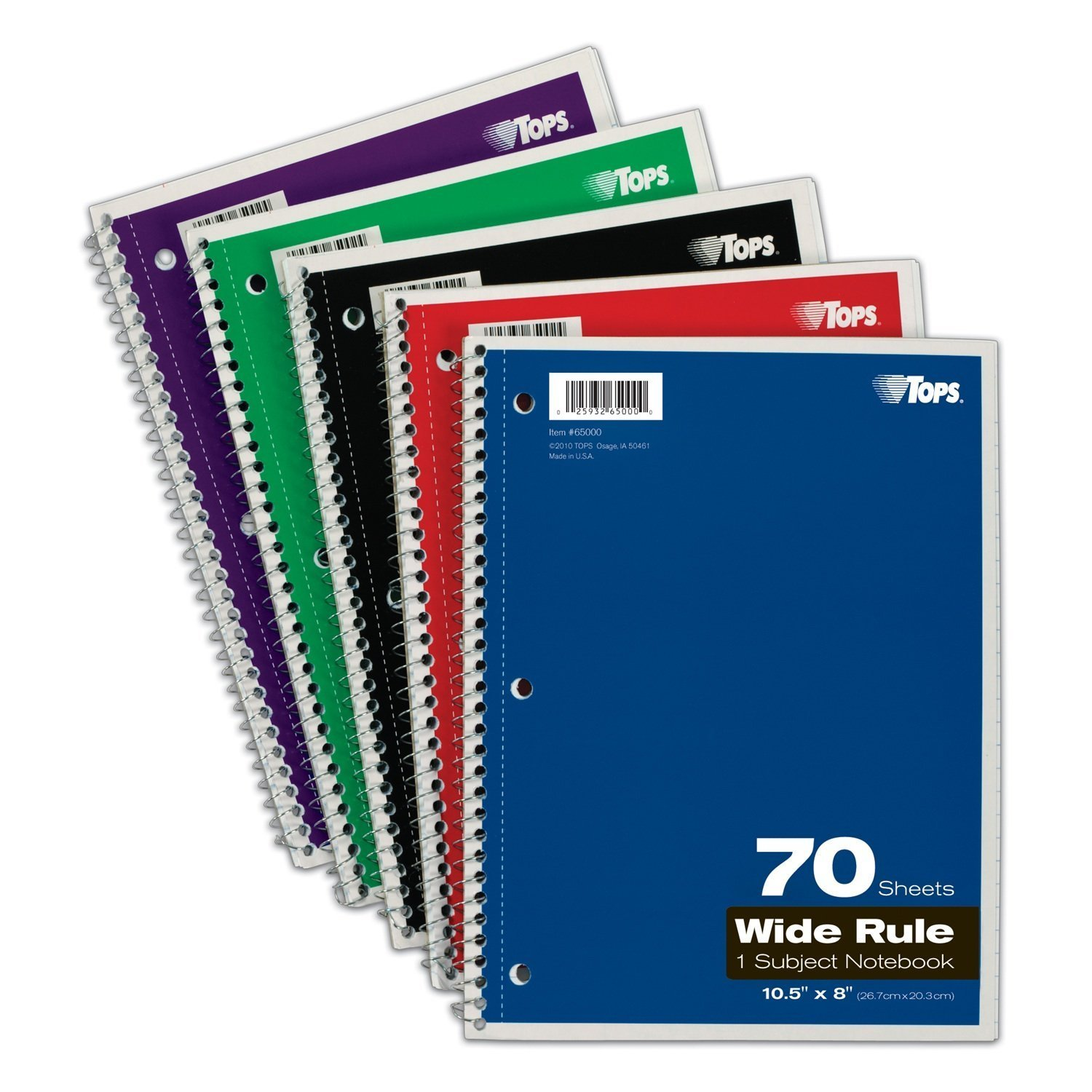 TOPS 1-Subject Spiral Notebooks, Wide Rule, 8 x 10.5 Inches, 70 White Sheets per Book, Cover Colors May Vary, Box of 24 (65000)