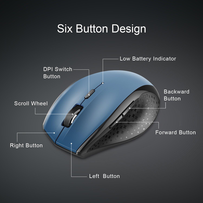 Wireless mouse 4800 DPI 6 Niveles de ajuste con 30 meses de duraci/ón de la bater/ía 6 botones para Windows Mac Macbook Linux TeckNet Classic 2.4G Rat/ón inal/ámbrico Nano Receptor