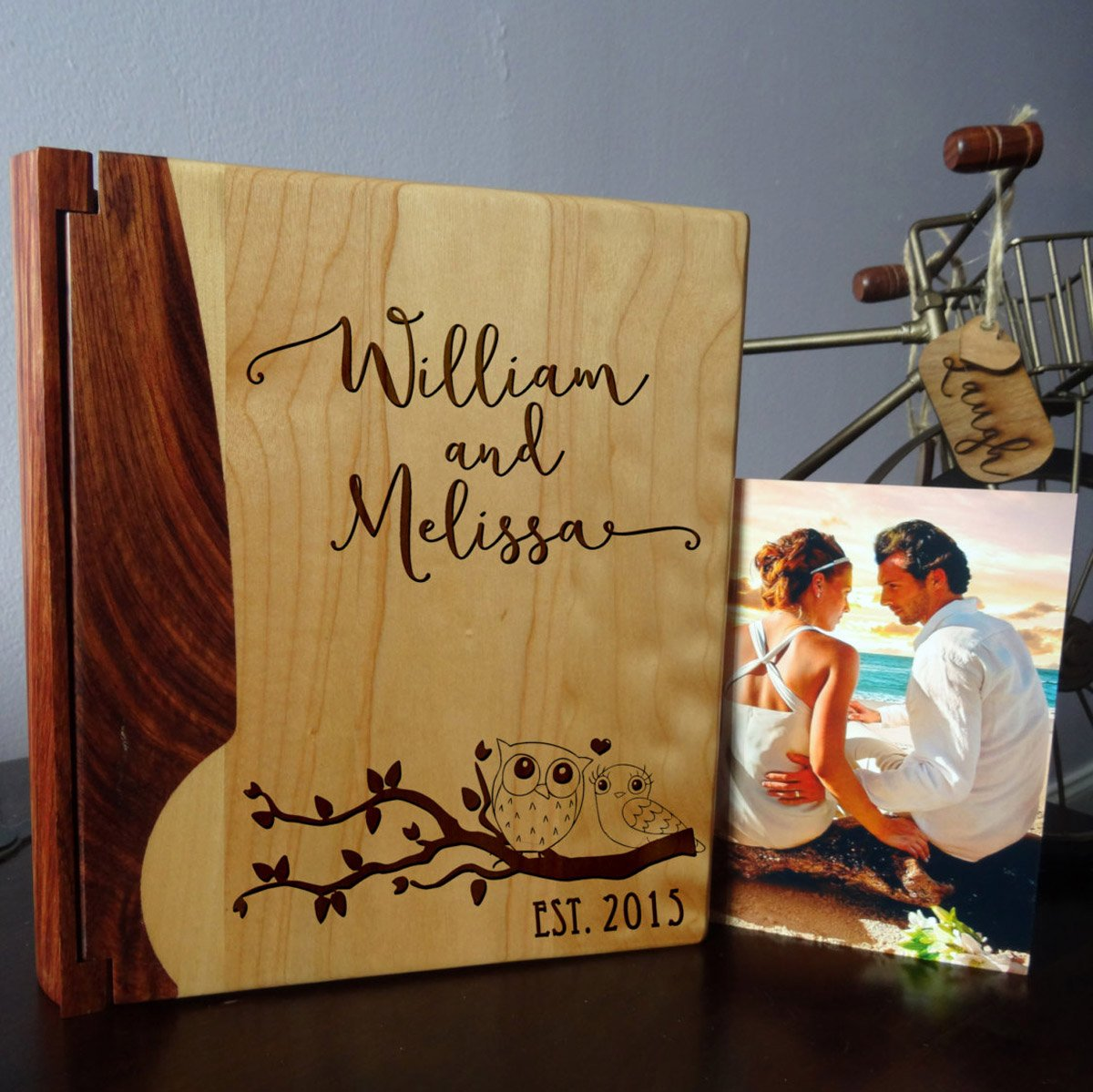 Personalized Wood Cover Photo Album, Custom Engraved Wedding Album, Style 1008 (Maple & Rosewood Cover)