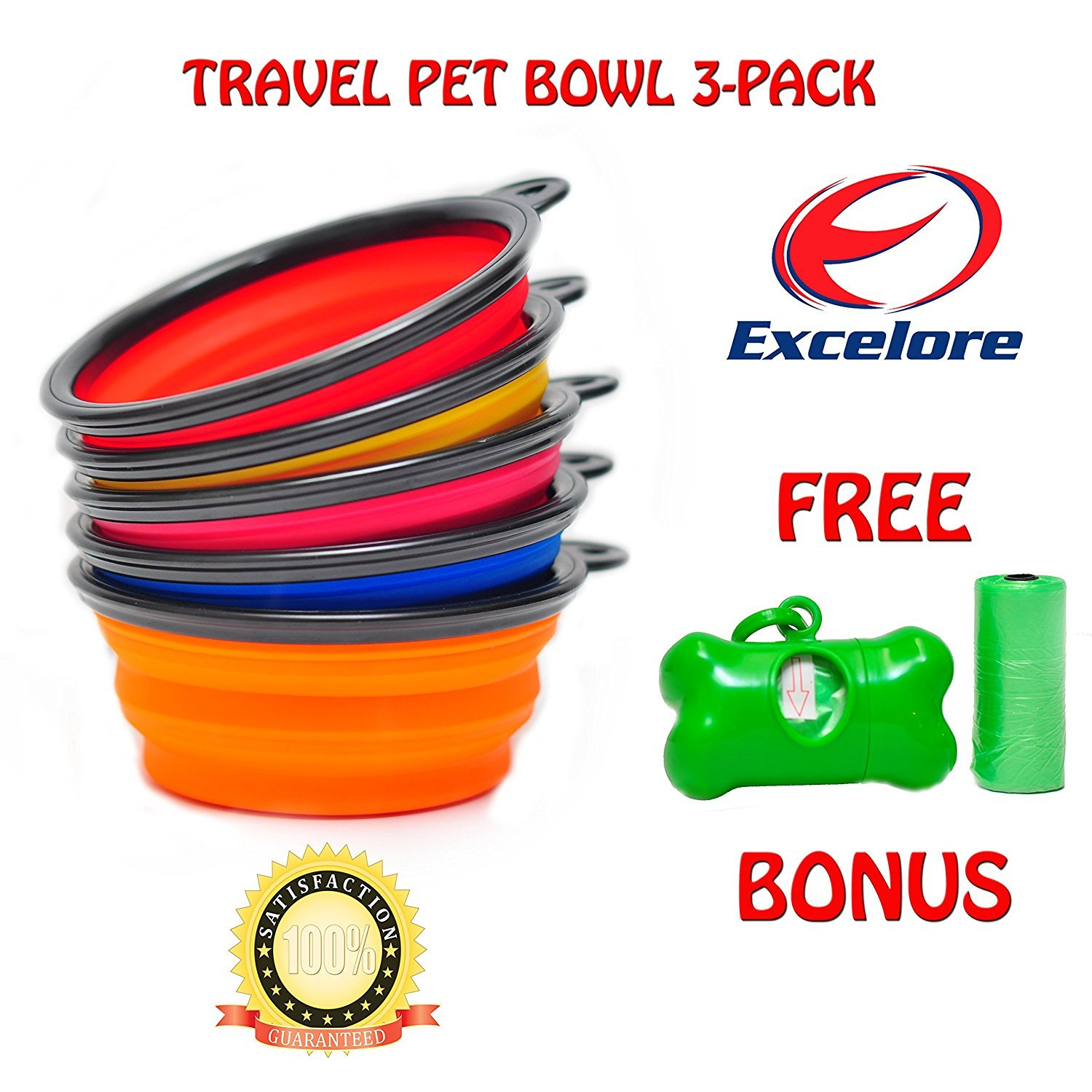 Excelore Travel Collapsible Dog Bowl with Waste Dispenser and 30 Poop Refill Bags, 3-Pack by Excelore