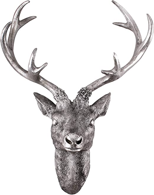 Metall-Optik 30 x 40 cm Figur Skulptur Deko Hirschgeweih Hirschkopf Geweih 10-Ender in Silber