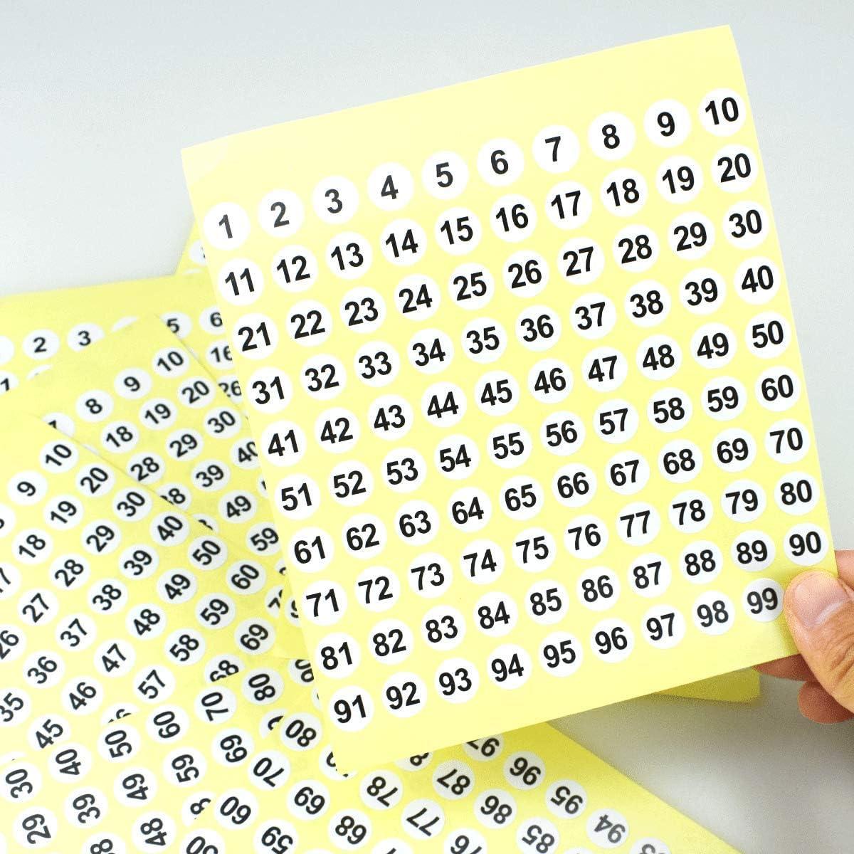 Number Stickers Zahl-runde Aufkleber-Aufkleber 5000 Punkte wei/ßer Hintergrund 1 bis 100 selbstklebende Zahl-Aufkleber die Aufkleber organisieren 50 Blatt