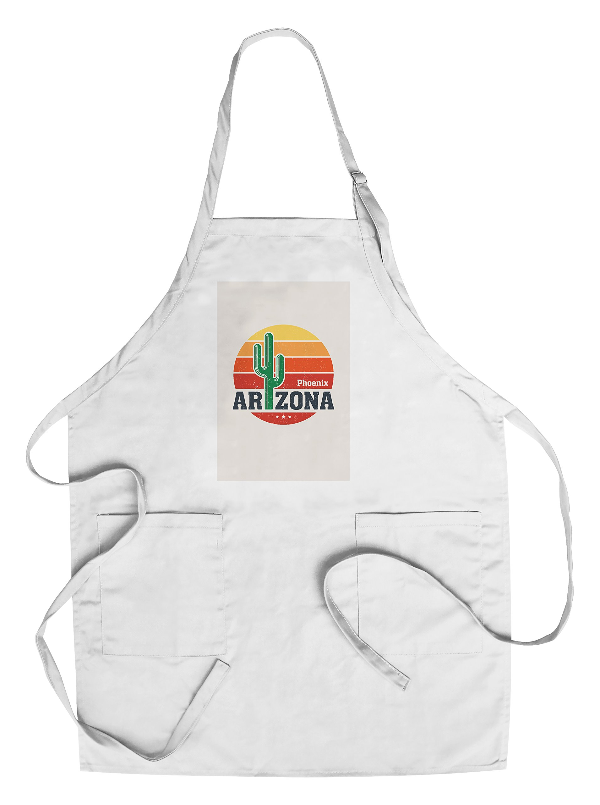 Phoenix, Arizona - Sun Vector - Cactus (Cotton/Polyester Chef's Apron)