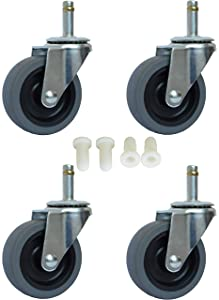 "MySit 3 Inch Rubbermaid Cart Caster Replacement Wheels, Swivel Stem Caster, 7/16""x 1-3/8"" Stem TPR Rubber Wheel for Rubbermaid Mop Buckets, Pack of 4 (CasterTPR75_1135)"