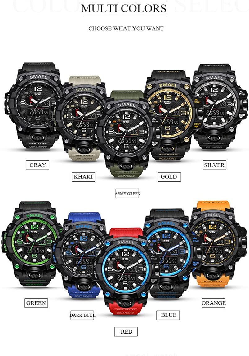 Amazon Com Smael Men S Sports Analog Quartz Watches Dual Display Digital Watches Led Backlight Waterproof Military Multifunctional Green Watches