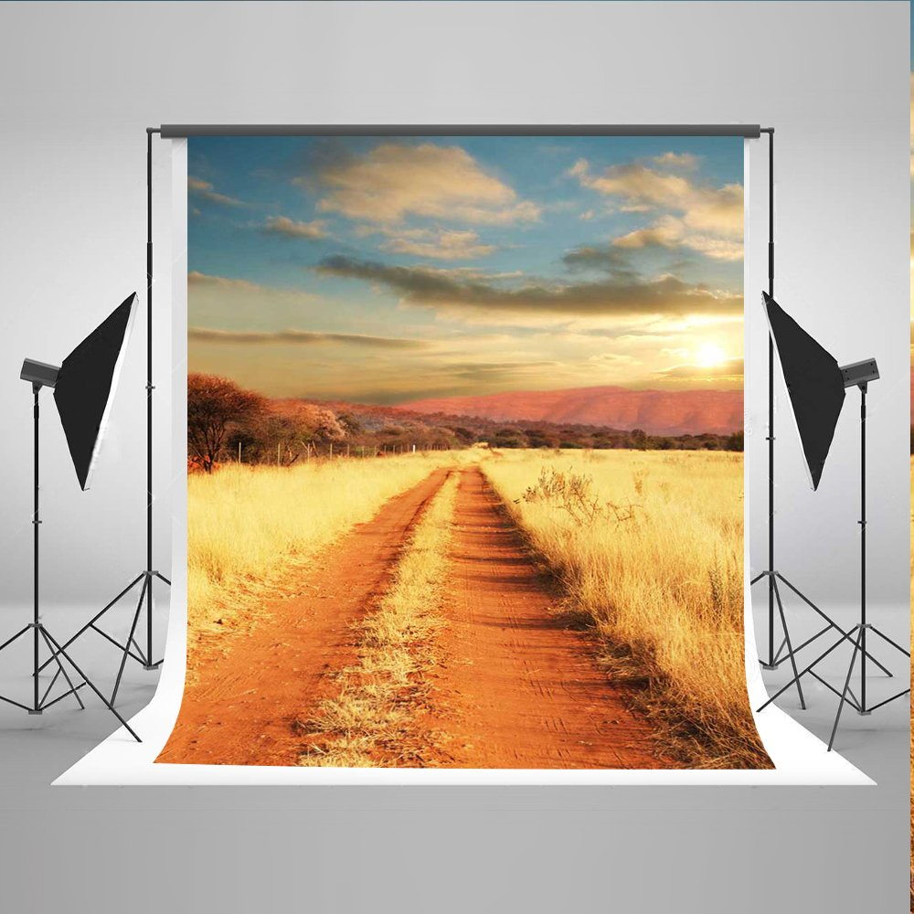ケイト6.5 X 10ftイエローFall Backdrops写真バックドロップGrass Roadフォトスタジオ背景   B074R9DPK3