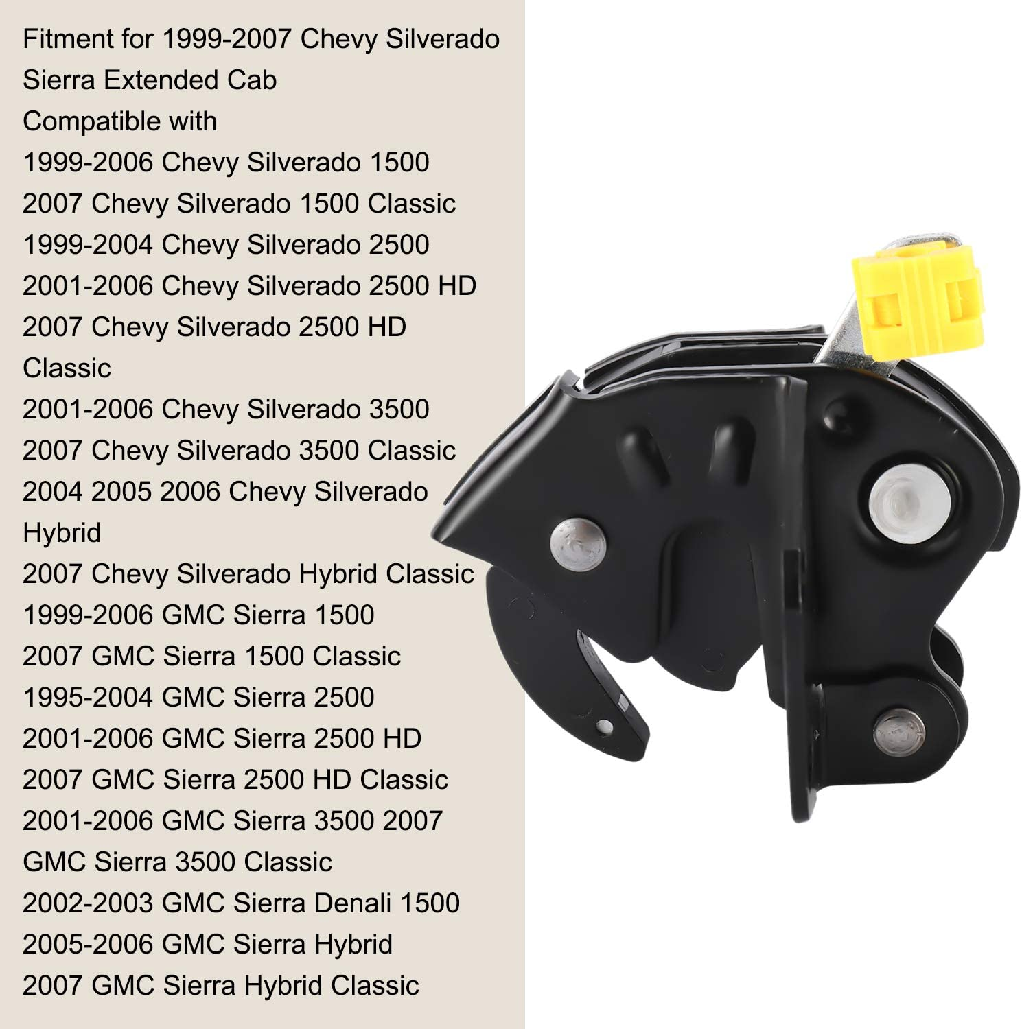 NovelBee 10356951 Lower 3rd Rear Door Lock Latch Actuator Assembly for 1999-2007 Chevy Silverado Sierra Extended Cab