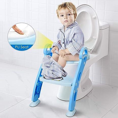 Amzdeal Aseo Asiento con Escalera, Escalera del tocador de niños, Asiento para WC plegable, Asiento para bebé con escalón ajustable y antideslizante, Orinal formación infantil, Azul: Amazon.es: Bebé