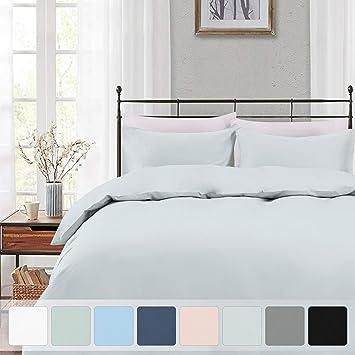 Blue Duvet Cover 100/% Long Staple Cotton Dark Blue Bed Sets Full Luxury Soft Sateen Queen Bedding Sets with Button Closure Pizuna 400 Thread Count Cotton Queen Duvet Cover Set