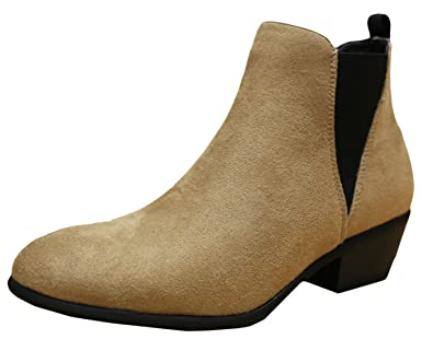 Women's Pull On Stacked Low Block Heel Western Ankle Bootie