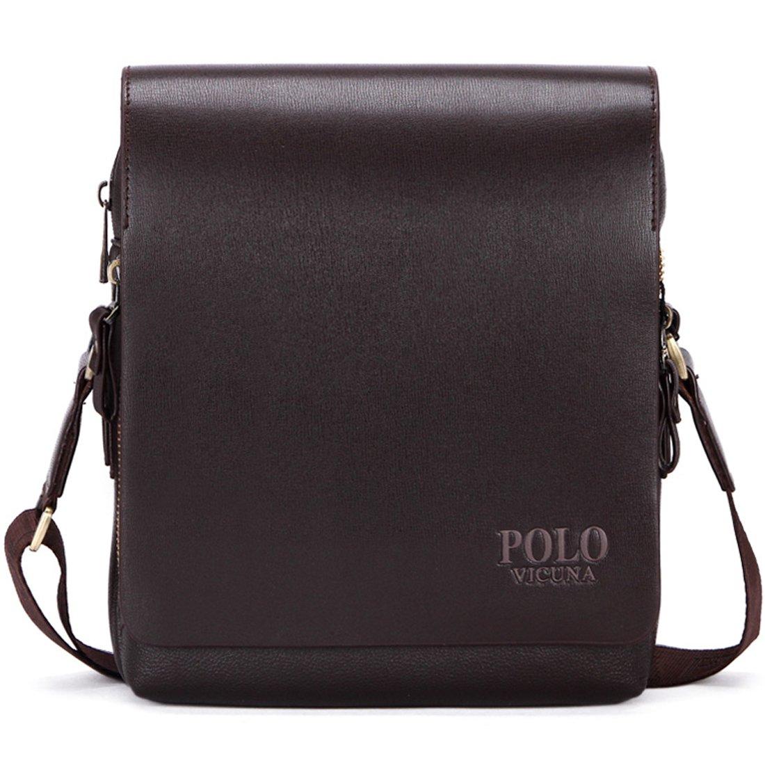 VICUNA POLO PU Leather Men Messenger Bag Cross Body Bag Shoulder Bag For Men(large, brown)