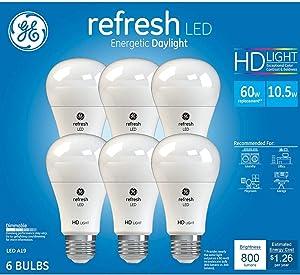 GE Daylight Refresh HD LED Light Bulbs 10.5 Watt 800 Lumens Dimmable A19-6 Pack