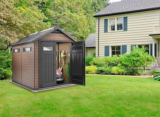 Caseta de jardín madera de Composite resina, marrón, 229 x 287 x 252-PEGANE-cm: Amazon.es: Hogar