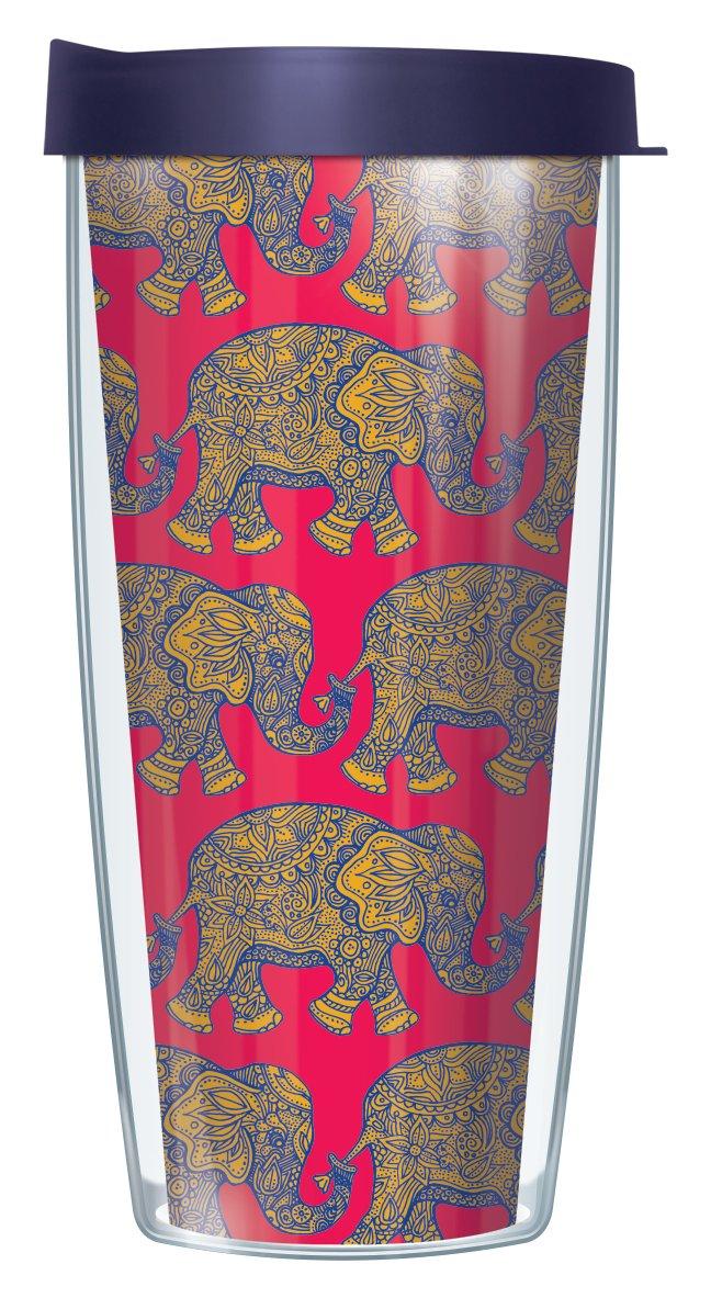 Royal Elephants On Red Wrap Traveler 16 Oz Tumbler Mug with Lid