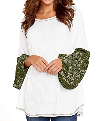 623537f6482 AlineMyer Women s Casual Plus Size Tops Round Neck T Shirts Printed Flare  Splice Long Sleeve Loose Pullover Sweater at Amazon Women s Clothing store