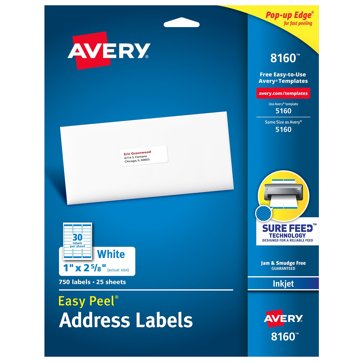 Amazon com avery address labels with sure feed for inkjet printers 1 x 2 5 8 750 labels permanent adhesive 8160 08160 office products