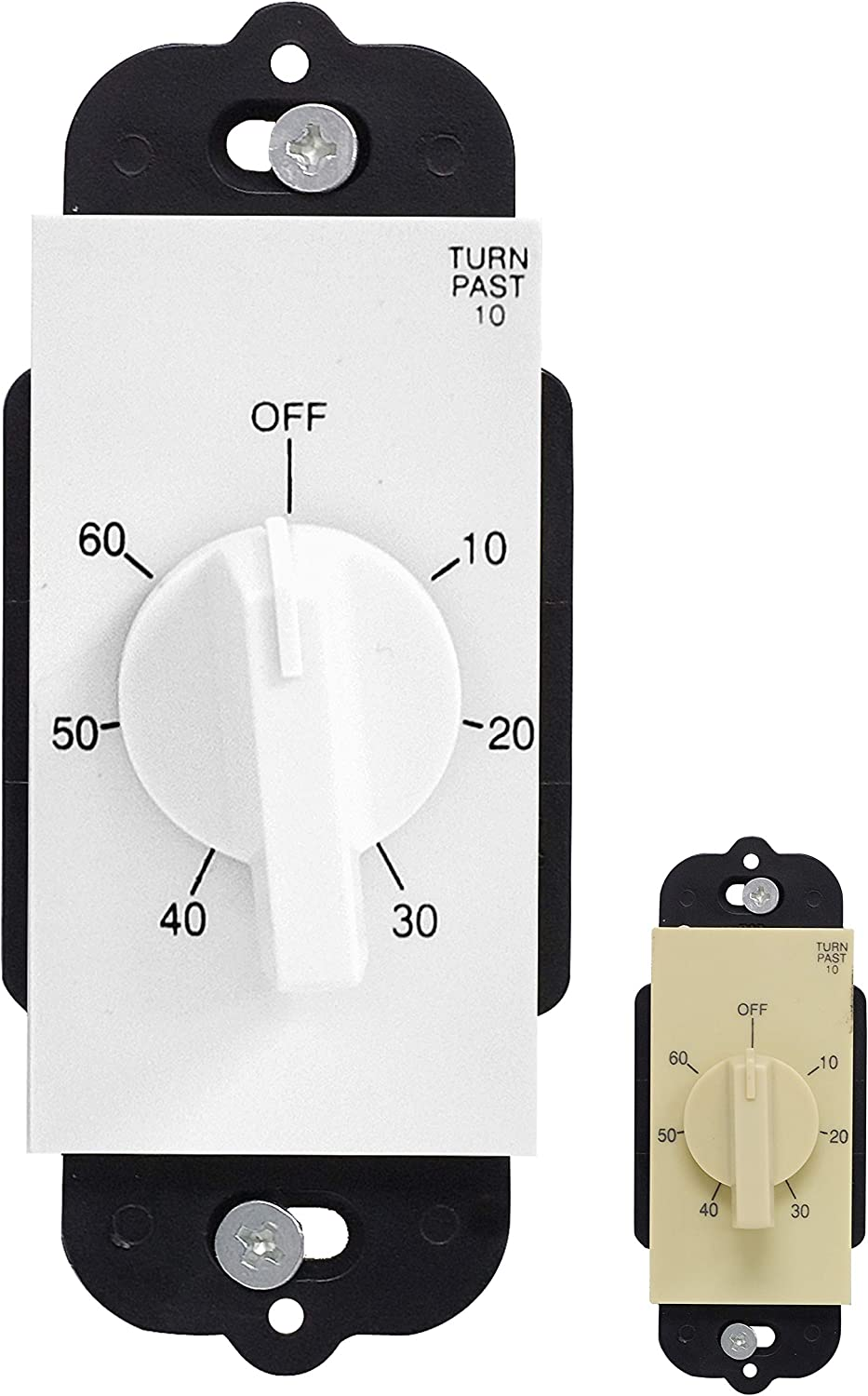 GE In-Wall Mechanical Countdown Timer Switch, Spring Wound, No Neutral Wire Needed, Up to 60 Minutes, White & Light Almond Wallplates, Ideal for Lights, Exhaust Fans, Heaters, 15304