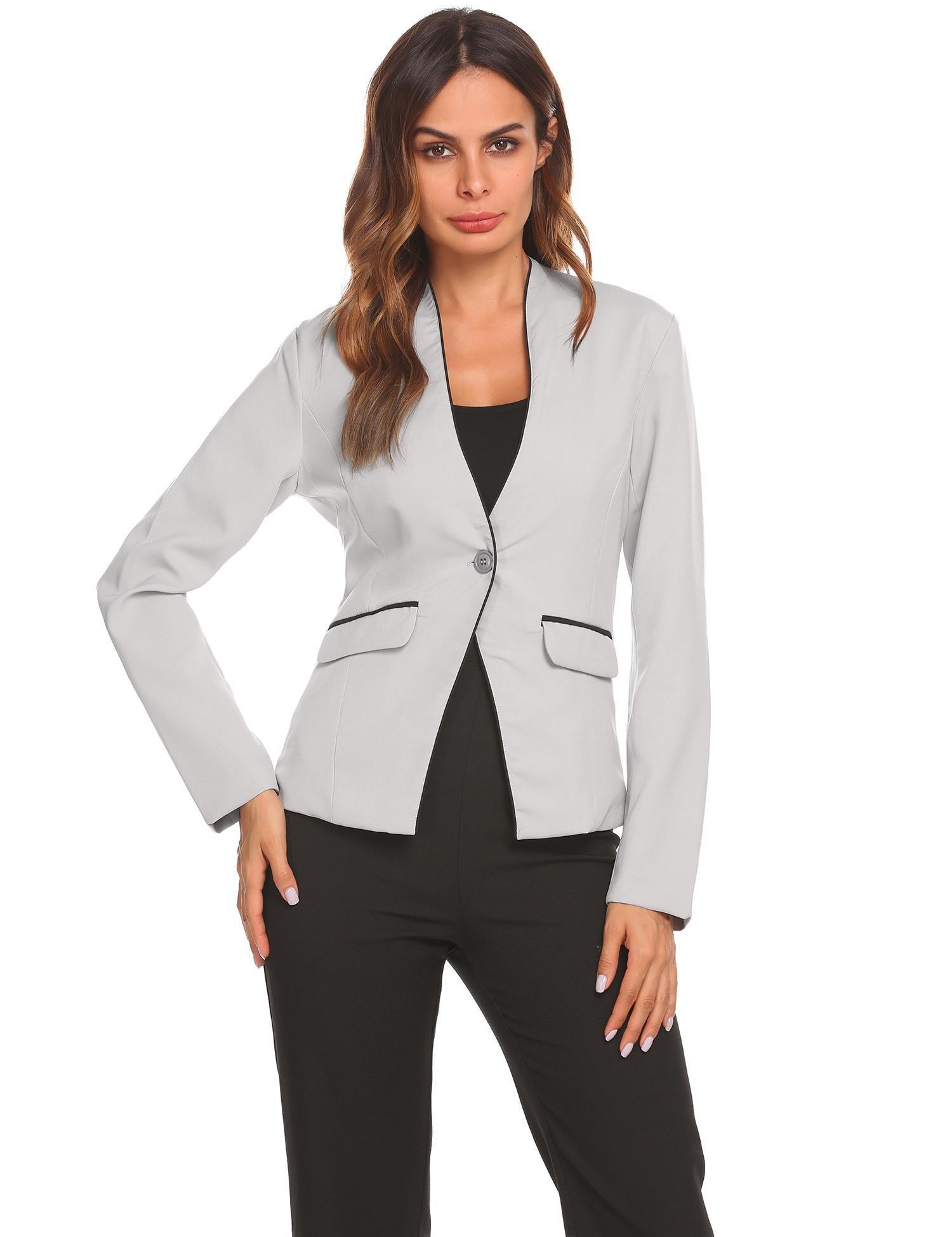 Soteer Women's Collarless Long Sleeve Casual Work Office Slim Blazer Suit Jacket