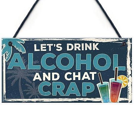Funny Lets Drink Alcohol Beer Vodka Gin Novelty Home Bar Pub ...