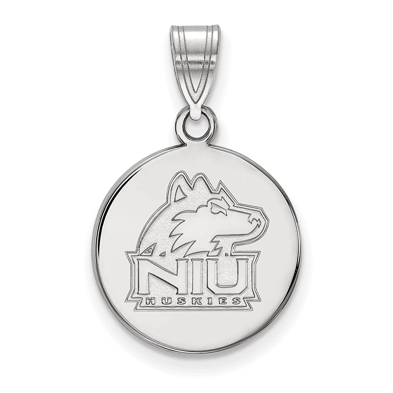 925 Sterling Silver Rhodium-plated Laser-cut Northern Illinois University Medium Disc Pendant