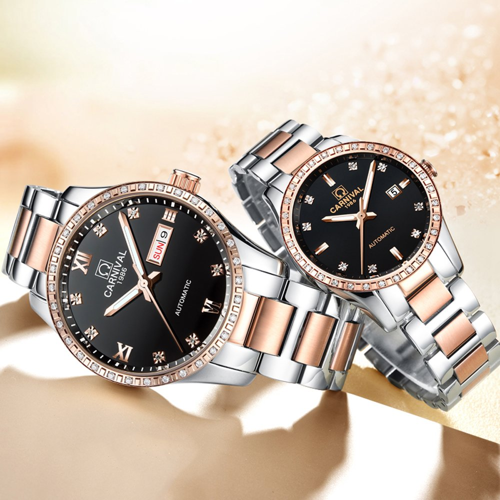 CARNIVAL Couple Watches Men and Women Automatic Mechanical Watch Fashion Chic for Her or His Set of 2 (Rose Gold Black) by Carnival (Image #3)