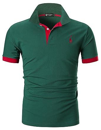 f634d601 STTLZMC Mens Casual Short Sleeve Polos Tennis Golf Classic Polo Shirts,Dark  Green,S