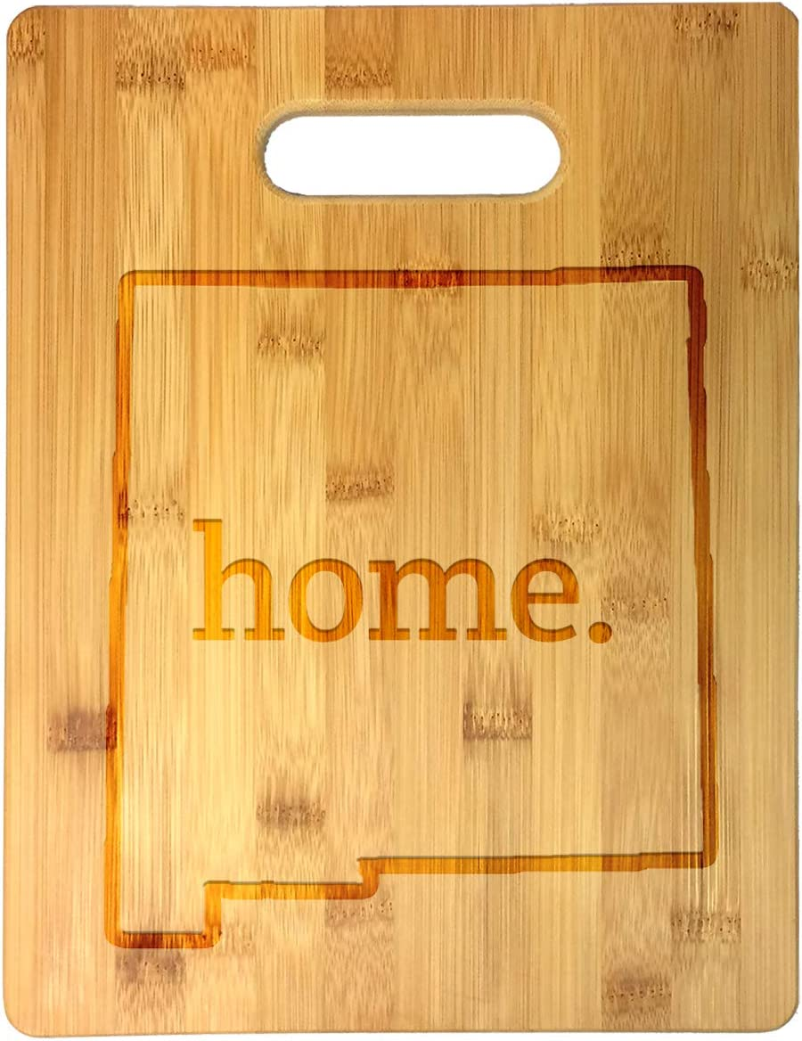 Home State New Mexico Outline USA United States Laser Engraved Bamboo Cutting Board - Wedding, Housewarming, Anniversary, Birthday, Father's Day, Gift (New Mexico)