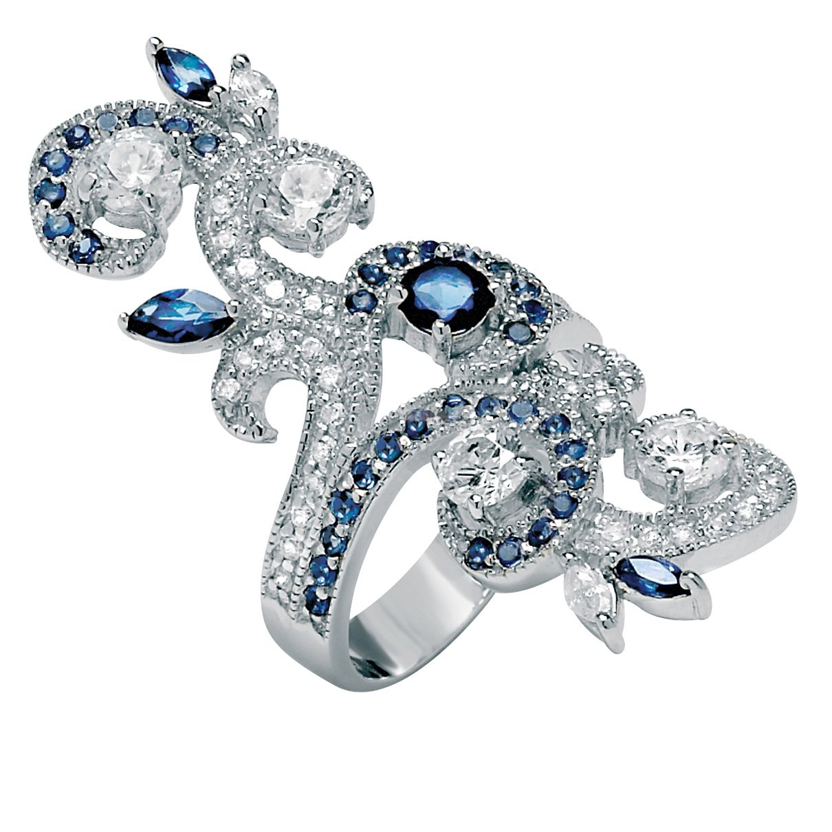 Seta Jewelry Silver Tone Round Cubic Zirconia with Marquise Blue Simulated Sapphire Ring